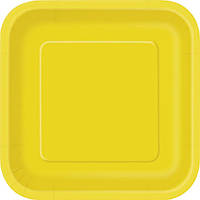 Бумажная одноразовая тарелка квадратная - Sunflower Yellow