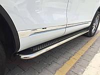 Volkswagen Touareg 2010+ гг. Боковые площадки Maydos V2 (2 шт., алюминий + нерж)