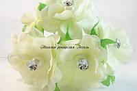 Цветы декоративные со стразой молочные 3 шт/уп