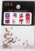 Стразы для дизайна ногтей, стразы средние оранжевые