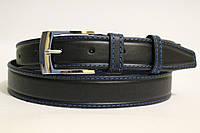 Ремень кожаный классический 35 мм чорный с синей ниткой пряжка серебрянная