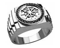 Кольцо серебряное Свитовит,Светоч с камнями 30275