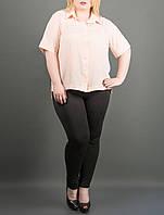 """Рубашка женская из креп-шифона """"Ника персик"""" от 54 до 60 размера"""