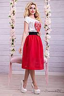 Женская юбка сетка ниже колен с завышенной талией красная