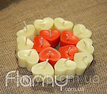 Свечи плавающие парафиновые, сердечки. Комплект 15 шт.