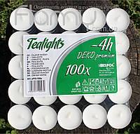 Свечи чайные (таблетки), парафиновые белые в алюминиевом корпусе, в упаковке 100 шт