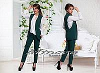 """Женский костюм-двойка """"Классика"""" (жилет+брюки) т. костюмный трикотаж """"тиар"""" / темно-зеленый"""