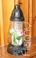 Лампадка 36-1, стеклянный корпус Боченок с цветком, время горения 36 часов