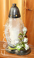 Лампадка 48-2, стеклянный прозрачнй корпус Мороженое с цветком, горение 48 часов