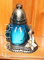 Лампадка 24П-01, цветной стеклянный корпус с декоративным элементом, время горения 24 часа