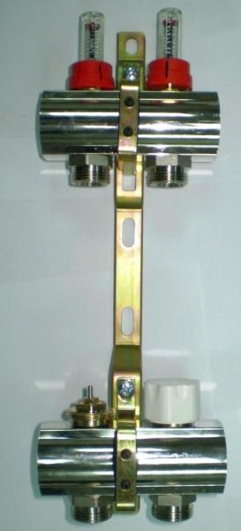 Luxor Коллектор с расходомерами и термоклапанами 4 вых.