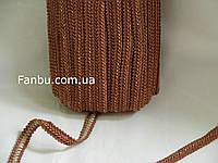 """Цветная тесьма """"шанель шубная"""" коричневая с белыми вкраплениями ,ширина 1.2см(1упаковка-50метров)"""