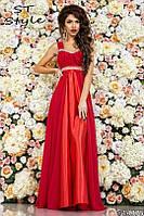 Элегантное вечернее платье в пол, атлас и шифон