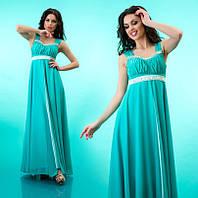 Элегантное вечернее платье в пол, атлас и шифон, с легкой драпировкой на груди