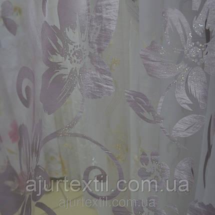 "Тюль органза деворе ""Роза"" фиолет, фото 2"