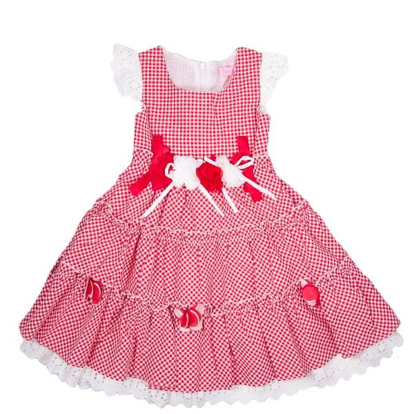 Оригинальное летнее платье для девочек в мелкую клетку