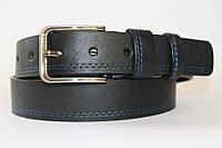 Ремень кожаный классический 40 мм чёрный прошитый синей ниткой