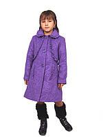 Пальто для девочки  кашемир  м-968 рост 116 сиреневое, фото 1