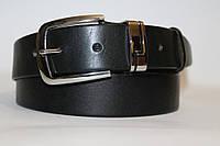 Ремень кожаный классический 40 мм гладкий чёрный пряжка хром металический тренчик