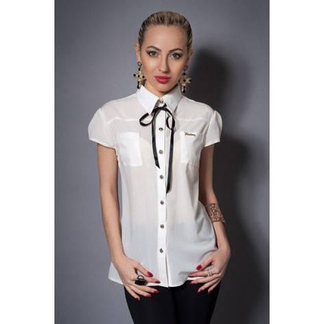 Шифоновая женская блузка молочная, фото 2