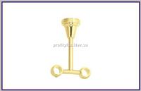 Кронштейн к кованым карнизам закрытый двойной потолочный ø16+16мм цвет золото