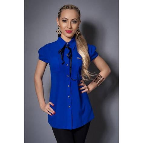 Шифоновая женская блузка синяя, фото 2