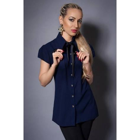 Шифоновая женская блузка темно-синяя, фото 2