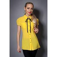 Красивая желтая блузка с бантиком