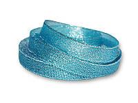 Лента - парча, цвет голубой с серебром, 12 мм, 22,5 метра