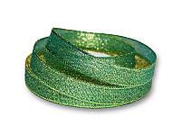 Лента - парча, цвет зеленый с золотом, 12 мм, 22,5 метра