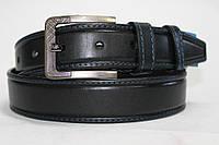 Ремень кожаный классический чёрный прошитый синей ниткой 40 мм