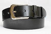 Ремень кожаный классический 40 мм чёрный гладкий пряжка овальная матовая