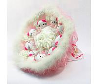 Букет из игрушек Котики 9 бело-розовый