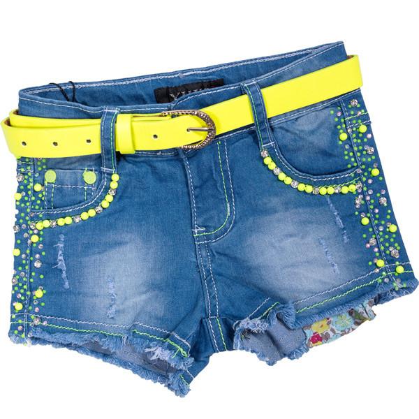 Шорты джинсовые для девочек с ярким украшением