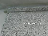 """Органза белая с серебряным рисунком""""паутина"""" на метраж (ширина 69-70см)"""