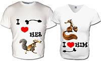 """Парные футболки """"Влюбленные белки"""""""