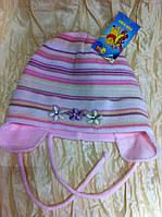 Одинарная шапочка с ушками , розовая в полоску
