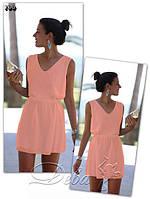 Шифоновое платье свободного прямого силуэта персикового цвета