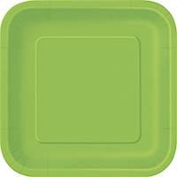 Бумажная одноразовая тарелка квадратная - Lime Green