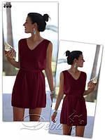 Шифоновое платье свободного прямого силуэта бордового цвета