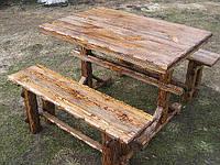 """Деревянная мебель под старину.Стол и скамейки."""" Радомир""""."""