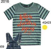 Верх лето футболка синяя полоска , оранжевые надписи мал. мятная 100% хлопок 4.Q423 iDO, Италия 140(р)