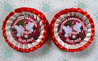 Два значка для свадьбы с двойной розеткой Red & Wite