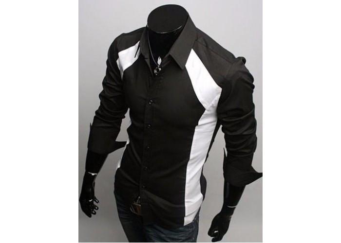 Стильная рубашка черная с белым