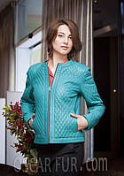 Бирюзовая стеганая куртка, кожа, фото 1