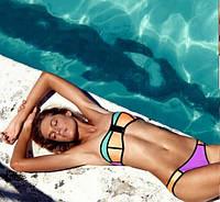 Купальник стиль Triangl бикини оранжевый-бирюзовый-фиолетовый S с молнией