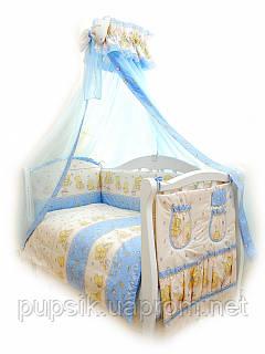 Постельный комплект для новорожденного Twins Comfort Мишки со звездами (8 предметов) С-017 (голубой)
