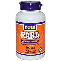 ПАБК (PABA), Now Foods, 500 мг, 100 капсул