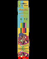 Цветные карандаши Марко  Пегашка 6/12 цв двухцветные