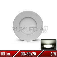 Светильник LED врезной круглый, 220 В, 3 Вт, Белый